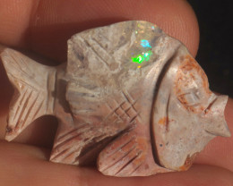 30ct  Fish Gemmy Matrix  Fire Opal Stone Carved