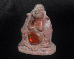 500ct. Buddha Stone Carving Mexican Matrix Cantera Multicoloured Fire Opal