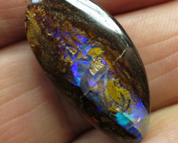 27cts, BOULDER PIPE OPAL~ELECTRIC FLASH.