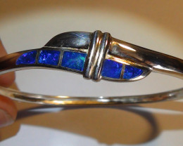 Opal Womens 925 Silver Bright Blue Inlay Crystal Opal Bracelet *