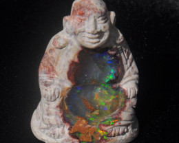 500ct. Buddha Stone Carving Mexican Matrix Multicoloured Fire Opal