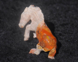 90ct. Horse Carving Mexican Matrix Multicoloured Fire Opal