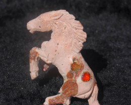 70ct. Horse Carving Mexican Matrix Multicoloured Fire Opal