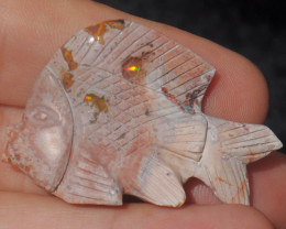 50ct. Fish Carving Mexican Matrix Multicoloured Fire Opal
