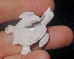 30ct Turtle Mexican Cantera Fire Opal Stone Carved Figurine