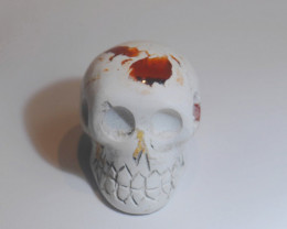 57ct Skull Mexican Matrix Fire Opal Pendant