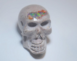 80ct Skull Mexican Matrix Fire Opal Pendant