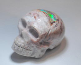 150ct Skull Mexican Matrix Fire Opal Pendant