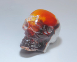 15.66ct Skull Mexican Matrix Fire Opal Pendant