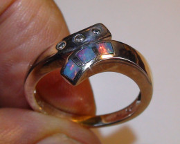 13.70 ct Beautiful 925 Silver Multi Color Inlay Crystal Opal