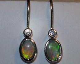 9.0 ct Ethiopian Solid 925 Silver Crystal Opal Drop Hook Earrings