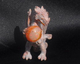 Dragon Mexican Matrix Fire Opal Figurine