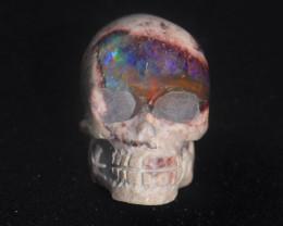 Skull Mexican Matrix Fire Opal Figurine