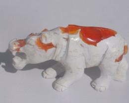 Hippopotamus Mexican Matrix Fire Opal Figurine