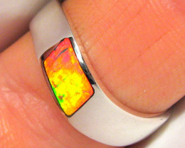 Australian Opal Ring Silver Inlay Faulty Stock Bargain! 3.2g Sz 8