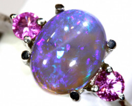 15.15 CTS  DARK OPAL AND SAPPHIRE SILVER RING  OF-2639