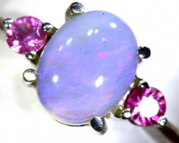 15.61 CTS  DARK OPAL AND SAPPHIRE SILVER RING  OF-2640