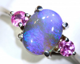 15.51 CTS  DARK OPAL AND SAPPHIRE SILVER RING  OF-2647