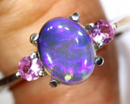 16.09 CTS  DARK OPAL AND SAPPHIRE SILVER RING  OF-2651