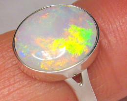 Australian White Opal Ring Solid Sterling Silver 2g  Size 6 #C12
