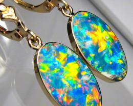 Opal Earrings 14k Gold  Australian Dangle Drop 11.35ct #C09
