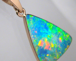 Australian Opal Pendant 4.95ct 14k Rose Gold Inlay Jewelry C01