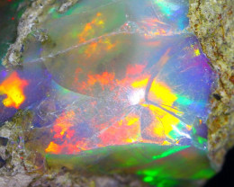 31.65Ct Multi Color Play Ethiopian Welo Opal Rough F2807