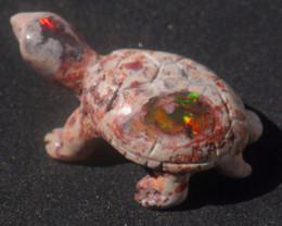 50ct Turtle Mexican Matrix Cantera Multicoloured Fire Opal