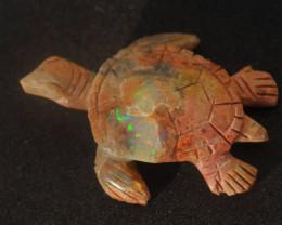 30ct Turtle Mexican Matrix Cantera Multicoloured Fire Opal