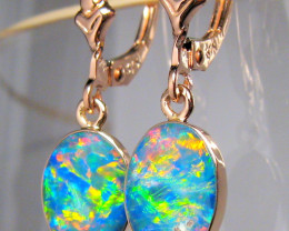 Australian Opal Earrings 6.7ct 14k Rose Gold Dangle #C04