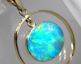 Australian Opal Pendant 14k Gold Jewelry 11.2ct Gem Gift C05