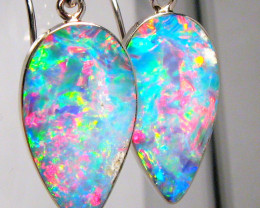 Australian Opal Earrings 10.55ct 14k White Gold Quality Inlay Jewelry Gift