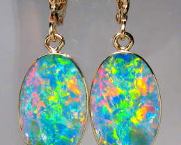 Opal Earrings 14k Gold Australian Dangle Jewelry 11ct #C10