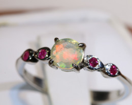7.43CTS -ETHIOPIAN OPAL RING / SILVER OF-2659
