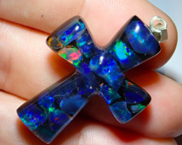 19.21ct Mexican Inlaid Opal Cross  Multicoloured Highlights