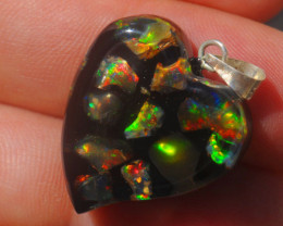 18.53ct Mexican Inlaid Opal Heart  Multicoloured Highlights