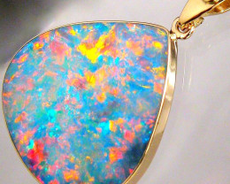 Large Australian Opal & Diamond Pendant 14k  Gold 12.7ct Inlay