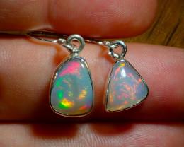 .925 Sterling Silver Freeform Earrings Natural Solid Opal Wello Dalanta