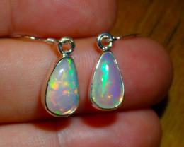 .925 Sterling Silver Freeform Earrings Natural Solid Opal Wello Dalanta