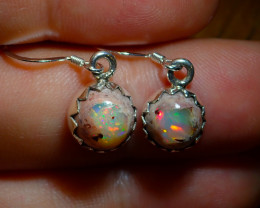 .925 Sterling Silver Freeform Earrings Natural Solid Mexican Opal
