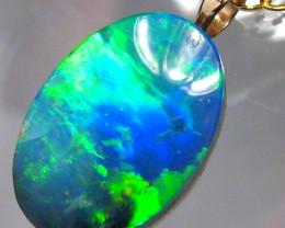 Australian Genuine Opal Pendant 14k Gold Doublet 7.95ct