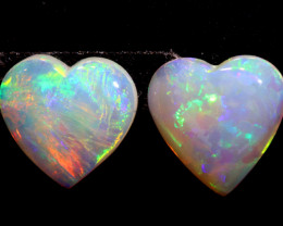 1.18 CTS HEART SHAPE ❤ CRYSTAL OPAL CUT STONE  PAIR  LO-5589