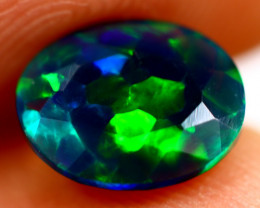 0.86cts Ethiopian Smoked Black Faceted Opal / BF443