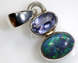 6.5  CTS    DOUBLET OPAL SILVER PENDANT WITH TANZANITE OF-403