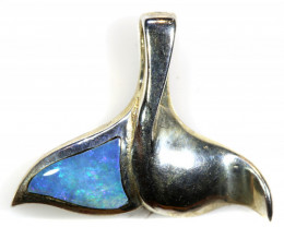 9.0  CTS  OPAL SILVER INLAY WHALE PENDANT  OF-419