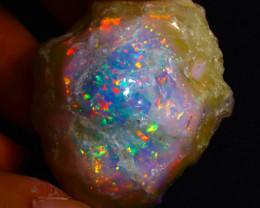 97.36Ct Multi Color Play Ethiopian Welo Opal Rough FN01