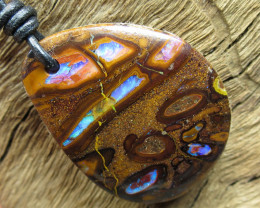 92cts, LEATHER OPAL PENDANT~CONGLOMERATE PATTERN.