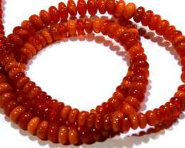 38.60CTS -MEXICAN  FIRE OPAL BEADS REDDISH ORANGE  STRAND FOB-2062
