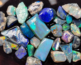 Rough Opal Lot 123.70 cts 30 pcs Black Opals Lightning Ridge BORC091219