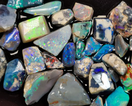 Rough Opal Lot 118.20 cts 38 pcs Black Opals Lightning Ridge BORA060619